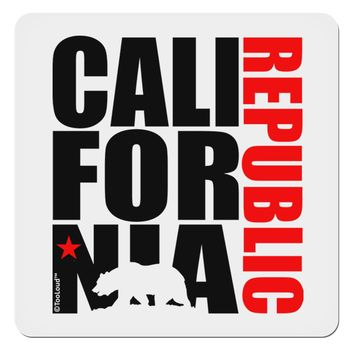 "California Republic Design - California Red Star and Bear 4x4"" Square Sticker by TooLoud"