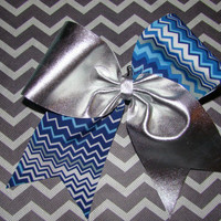 Silver and Blue Chevron Criss Cross Cheer Bow by isparklethat