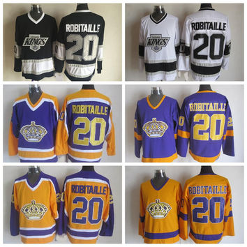 Throwback Los Angeles Kings Jerseys #20 Luc Robitaille Jersey 1993 Black Vintage CCM Classic LA Kings Luc Robitaille Hockey Jersey Stitched