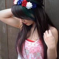American Flag Flower Headband #C1008