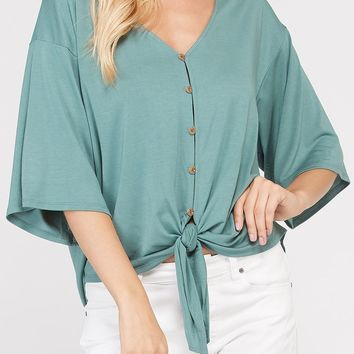 Ainsley Bamboo Tie Front Top in Pistachio