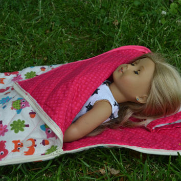 "American Girl and 18"" Doll Quilted sleeping bag with matching pillow"