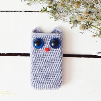 Cat. Girls phone case. Cat Lover Gift Crochet phone case, Crochet Phone Sleeve,Cute Cartoon Cat Soft Back Case Cover For iPhone.