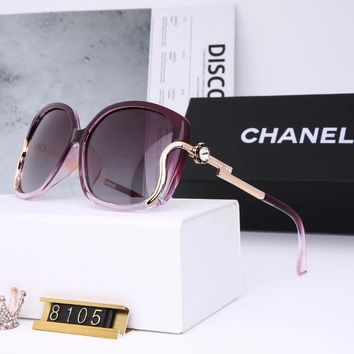 Chanel Fashion Women Summer Style Sun Shades Eyeglasses Glasses Sunglasses Purple I12720-1