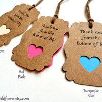 35 Colors to Choose From - Thank You from the Bottom of My Heart, Gift Tags, Wedding Tags, Baby Shower Tags, Thank You Tags, Heart Tags