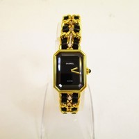 Auth CHANEL Premiere Gold Pllated Black Leather Ladies Wrist Watch L Size #5981