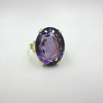 Vintage 14k Yellow Gold & Carved Amethyst Cameo Ring