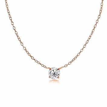 Dainty Round Cubic Zirconia Choker Necklace in Rose Gold Plated 925 Silver