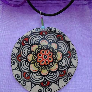 Mandala Zentangle Drawing Pendant Necklace, Polymer Clay Jewelry Necklace Pendant, Yoga Ethnic Jewelry Necklae,  Boho accessoires necklace