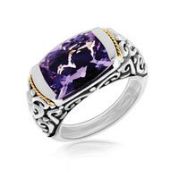 18K Yellow Gold and Sterling Silver Baroque Inspired Amethyst Accentuated Ring