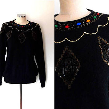 Black beaded sweater | multicoloured | diamond | red | blue | orange | cylinder bead | vintage | 1980s | retro | medium | chunky sweater |
