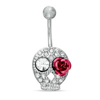 014 Gauge Belly Button Ring with Cubic Zirconia in Stainless Steel with Brass Day of the Dead Skull -  - View All - PAGODA.COM