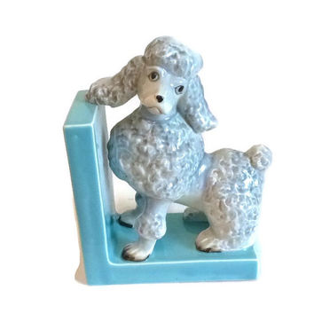 Vintage Blue Gray Poodle Figurine, Bookend, Dog, Japan, Collectible, Turquoise, Porcelain, Ceramic, Statue, Rockabilly, Kitsch, Home  Decor