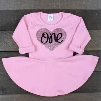 1st Birthday Dress for Girls   One Dress for Baby Girls   Pink Long Sleeve Dress with Rose Gold Glitter One   1st Birthday