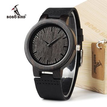 BOBO BIRD C26 Men's Watches Retro Japan Quartz Movement Wood Watch Real Leather Band Men's Bamboo Wristwatches In Gift Box