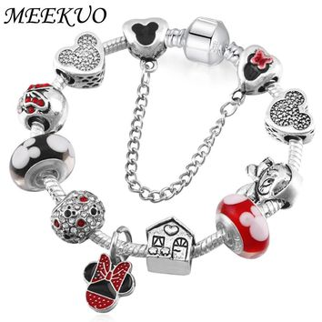 Handmade Cute Children Mickey Charms Europe and United States Gift for Women Kids Girl DIY Murano Beads Fit Pandora Bracelet