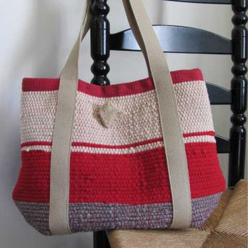 Tote Bag, Handwoven Wool Recycled Rag, Fire Red, Natural & Gray, Autumn, Winter Fashion, Rustic, Cabin, Cottage Style, Fall Accessory, Gift
