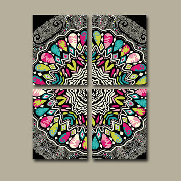 Wall Art Canvas Aztec Tribal Bedroom Decor Black Colorful Bathroom Mandala Ornament Design Floral Set of 4 Prints Bedding Comforter