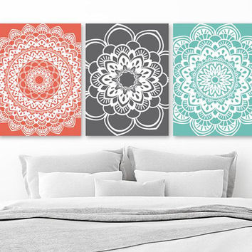 MANDALA Wall Art, Coral Aqua Gray BATHROOM Decor, Mandala CANVAS or Prints, Aqua Coral Gray Bedroom Wall Decor, Set of 3 Medallion Pictures