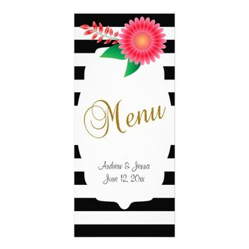 Black & White Stripes, Gold | Pink Flowers | Personalized Rack Card
