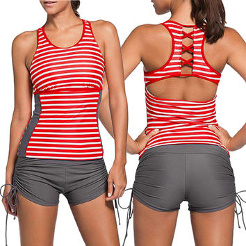 Striped Cutout Back Top and Gray Sport Brief Swimming Bottom