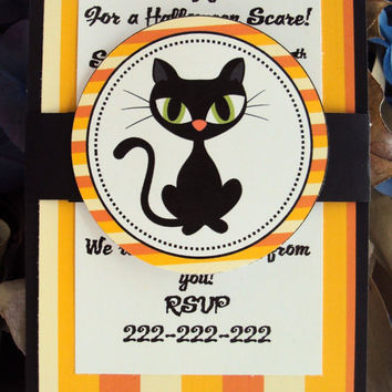 Halloween Party Invitation,Black cat Invitations
