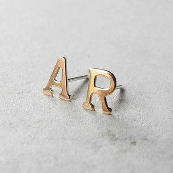 Initial Stud Earrings - Personalized Monogram Post Earrings - Initial Jewelry - Letter Earring Studs - Brass Jewelry (E218)