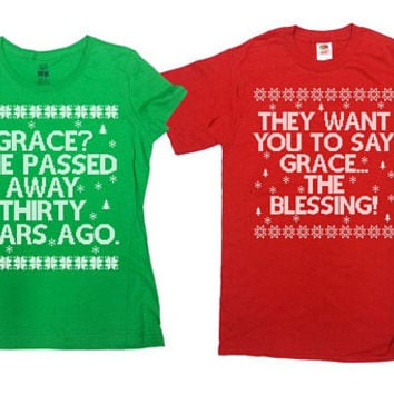 Matching Christmas Shirts Christmas Vacation Ugly Xmas T Shirts Holiday Outfits Griswold Christmas Movie Aunt Bethany X-Mas Gifts -SA856-857