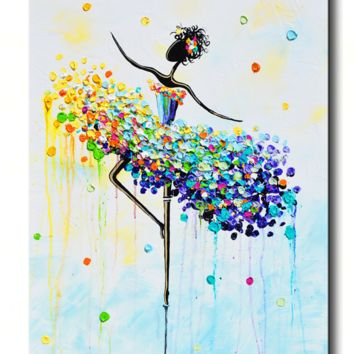 GICLEE PRINT Art Abstract Dancer Painting Colorful CANVAS Prints Dance Wall Decor Sizes To 60