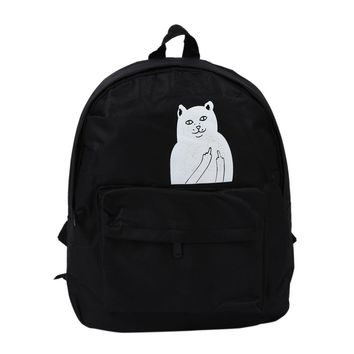 Hot Fashion Women's College Wind  canvas Shoulders backpack White Cat