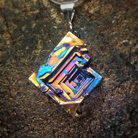 "Bismuth Necklace - ""Psychedelic Funnel"" Bismuth Geode Bismuth Jewelry by Element83 - Element 83 - Iridescent Crystal Necklace"