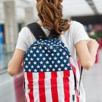 NEWBRAND Womens Mens School Book Campus Bag Backpack Satchel UK US Flag Pattern
