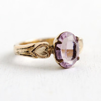 Vintage Art Deco Gold Filled Simulated Amethyst Ring - 1940s Size 2 Tiny Baby Jewelry Hallmarked Clark & Coombs