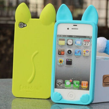 3D koko cute Ear Cat soft silicone Case For Apple IPhone 4 4s phone cases Ear can Open the screen