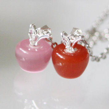 Disney Snow White inspired Glass poisionous Red Apple Necklace  Snow White Necklace with jewelry gift box