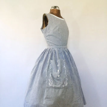 Vintage 1950s Cotton Sun Dress Shirt Dress 1960s Striped Tea Dress Size Medium Nautical Striped Day Dress 50s Picnic Dress Rockabilly Dress