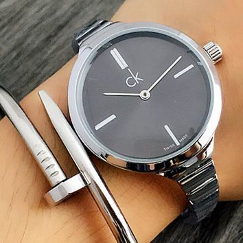 Calvin Klein CK Popular Women Simple Quartz Sport Movement Couple Watch Wristwatch Silver Watchband Black Dial I-Fushida-8899