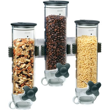 Dry Cereal Storage 3 Canister Wall Mount Organizer Dispenser