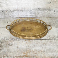 Brass Tray with Handles Faux Bamboo Brass Serving Tray Hollywood Regency Bar Tray Gold Cocktail Tray Bar Cart Decor Mid Century Brass Decor