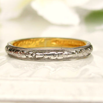 Antique Art Deco Wedding Band 18K White Gold & 22K Yellow Gold Ladies Wedding Band Antique Wedding Ring Floral Stackable Ring Size 6!