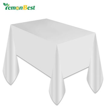 1PC White Plastic Disposable Plastic Table Cover Tablecloth Kids Birthday Party Decoration Baby Shower Decoration Supplies