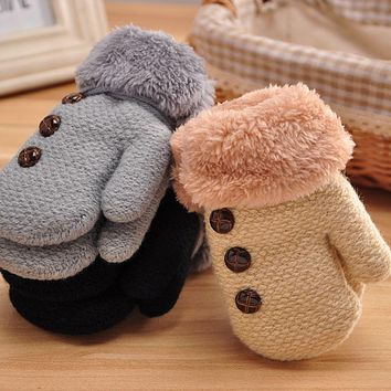 Winter Warm Baby Gloves Kid Boy Girl Warmer Mittens Finger Gloves Leaf Rope Button Solid Gloves