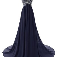 Weddinggirldress Women Sweetheart Navy Chiffon Long Prom Dress Bridesmaid Dresses (US 2, Navy)