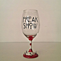 FREAK SHOW wine glass - AHS inspired - blood splatter - silver spikes - 20 oz
