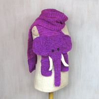 Warm crochet elephant shaped scarf, animal shawl, purple violet white, wool scarves, for animal lovers, funny soft, Christmas gift
