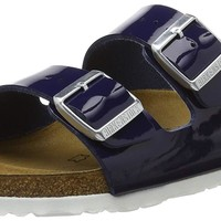 Birkenstock ARIZONA Ladies Dual Buckle Slip On Sandals Patent Dress Blue