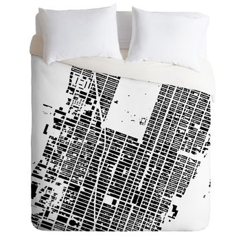 CityFabric Inc NYC Midtown White Duvet Cover