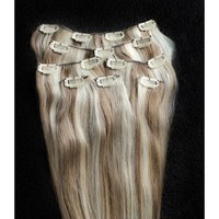 "Full Head 18"" 100% REMY Human Hair Extensions 7Pcs Clip in #8/613 Light Brown Blonde Mix"