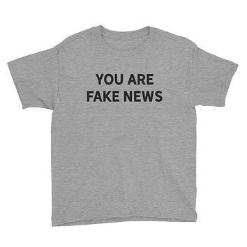 You Are Fake News Youth Short Sleeve Heather T-Shirt