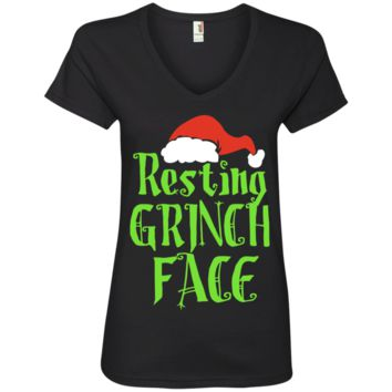 Resting Grinches Face With Santa Hat Christmas Gift Ladies' V-Neck T-Shirt